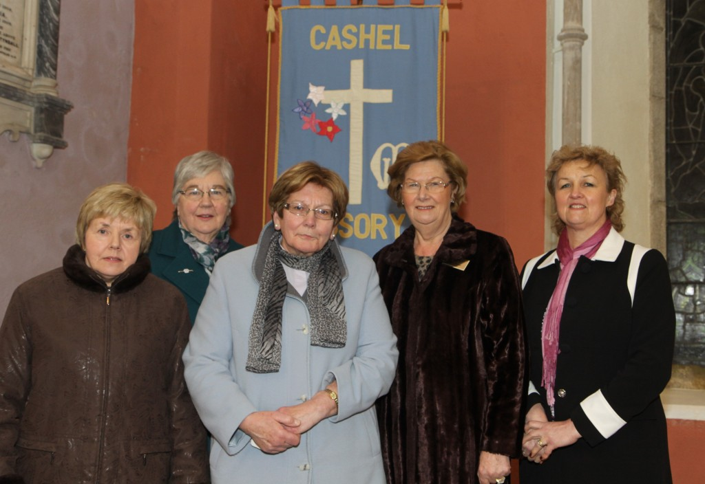 The Revd Margaret Sykes with officers of the Diocesan Mothers' Union following her commissioning as Diocesan President at St Mary's Church, New Ross on Friday 16th January 2015.  L-R: Florrie Carter (Diocesan Secretary), Janet Crampton (Vice-President Ferns), The Revd Margaret Sykes (Diocesan President), Margaret Kingston (Vice-President Cashel) and Linda Ward (Vice-Preident Ossory).