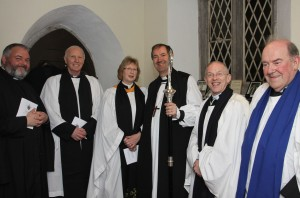 The Revd Alison Seymour-Whiteley pictured before her Service of Introduction to the Church of Ireland Templemore Union of Parishes on Friday 20th March 2015. L-R: The Revd Tim Irvine (Registrar), the Venerable Chris Long (Archdeacon of Ferns and Preacher), the Revd Alison Seymour-Whiteley, the Right Reverend Michael Burrows (Bishop of Cashel, Ferns & Ossory), the Revd Ian Coulter (former priest-in-charge during the vacancy) and Mr Charles Wallace (Diocesan Reader Templemore).