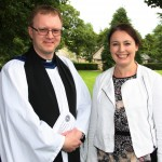 The new Archdeacon pictured with his sister Penny at St Edna's Cathedral, Ferns