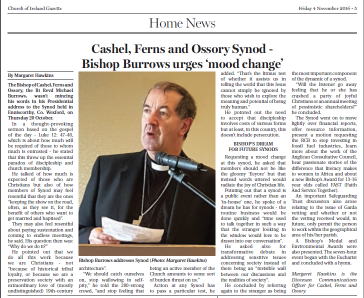 Gazette report - Synod 2016 - Bishop Burrows
