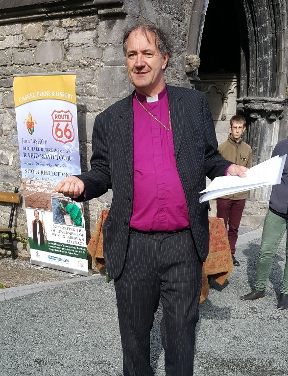 Bishop Burrows outside St Canice's Cathedral - Route 66