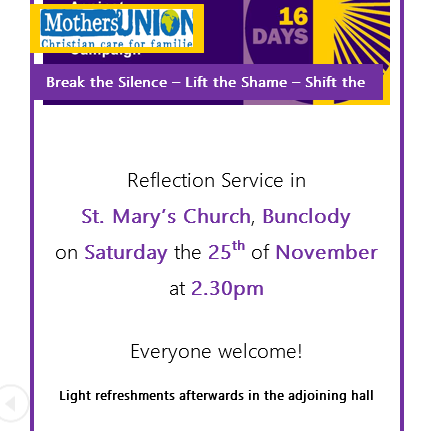 Mothers' Union Reflection Service in Bunclody