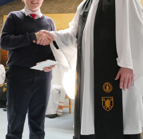 Bishop's Medal winner (Primary) with Archdeacon Bob Gray