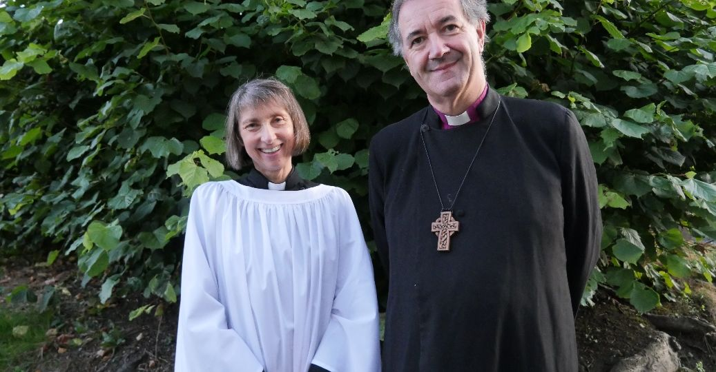 The Reverend Janet Finlay and Bishop Burrows prior to her ordination